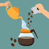 Making coffee concept. Hand pouring hot water and coffee bean into coffee pot.  illustration Stock Photo