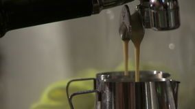 Making coffee in electric coffe machine in a cafe stock video