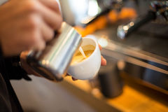 Making coffee with latte art Stock Image