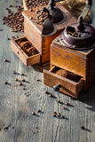 Making coffee by vintage grinders Royalty Free Stock Photography