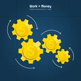 Making coins on the mechanism. Work equals money. Vector. Making coins on the mechanism. Work equals money Royalty Free Stock Photos