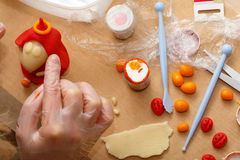Making colorful marzipan decoration Royalty Free Stock Photography