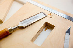 Making a component of wood furniture Stock Image