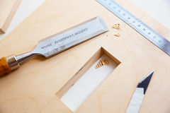 Making a component of wood furniture Stock Photography
