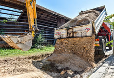 Making and constructing a new asphalt road. Royalty Free Stock Photo