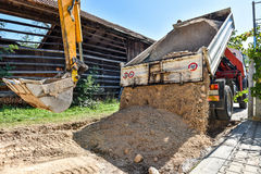 Making and constructing a new asphalt road. Stock Image