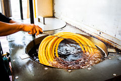 Making cooking of spanish churros churreria Stock Image