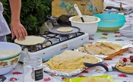 Making crepes Royalty Free Stock Photo