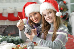 Making Cristmas decoration Stock Images