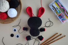 Free Making Crochet Voodoo Rabbit. Toy For Halloween.  On The Table Threads, Hook, Cotton Yarn. Handmade Gift. Mystic, Occult, Horror Royalty Free Stock Photography - 158256367