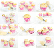 Making cupcakes collage or set Royalty Free Stock Image