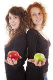 Making a decision. Two attractive young women offer a red and green apple stock images