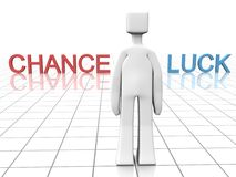 Making decision of chance or luck concept. Man is making decision to go with chance or luck  3d illustration Stock Images