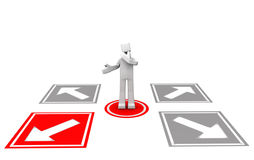 Making decision concept. Man looking at the four arrow direction to make decision 3d illustration Stock Photos