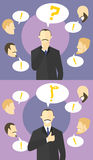 Making decision concept. Boss doubts. Colleagues give advices. Businessman unsure, then sure. Doubtful and confident man. Vector f. Lat style illustration Stock Photo