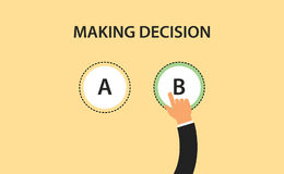 Making decision concept symbol with two option a and b with hand choose one of it. Vector Stock Images