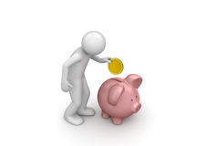 Making deposit savings. 3d isolated on white background characters series Stock Photo