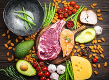 Keto diet foods. Making dinner with low carbs ingredients for healthy eating concept and weight loss, top view. Keto foods: meat, fish, avocado, cheese royalty free stock photo