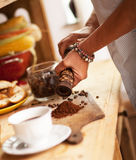 Making domestic coffee Royalty Free Stock Image