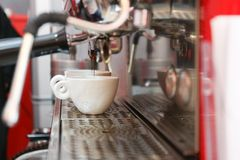 Making double shot espresso Stock Image
