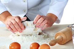 Making dough. For tasty baked goods royalty free stock images