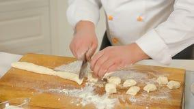 Making dough for dumplings stock video footage
