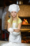 Making the dough for pizza is fun - little chef Stock Images
