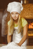 Making the dough for pizza is fun - little chef Royalty Free Stock Photography
