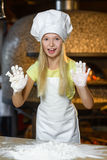 Making the dough for pizza is fun - little chef Royalty Free Stock Images