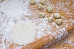Making dough for Turkish Baklava. Making the dough for Turkish Baklava at home stock photos