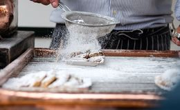 Making of Dutch pancake Royalty Free Stock Image