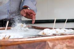 Making of Dutch pancake Royalty Free Stock Images