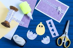 Making Easter greeting card. Step 6. Making Easter greeting card. Art project. DIY concept. Step by step photo instructions. Step 6. Decorate egg and chicken Royalty Free Stock Image