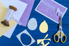 Making Easter greeting card. Step 5. Making Easter greeting card. Art project. DIY concept. Step by step photo instructions. Step 5. Cut ovals for egg and Royalty Free Stock Photos