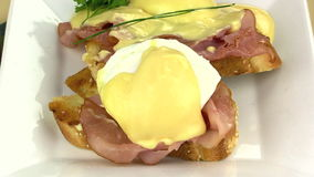 Making Eggs Benedict 7 stock video footage