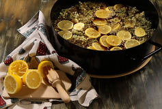 Making the Elderflower cordial - third step stock photo