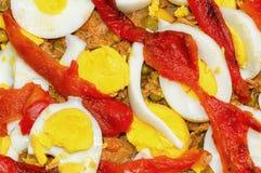 Making Empanada Gallega Pie. Super Spanish pies or empanadas stuffed with tuna, vegetables and eggs Stock Image