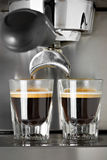 Making Espresso. Making two cups of espresso Stock Photography
