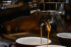 Making espresso coffee royalty free stock images