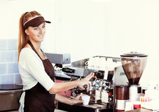 Making Espresso in Coffee Shop Stock Photography