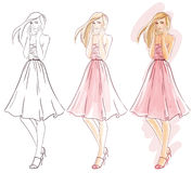 Making fashion watercolor illustration Royalty Free Stock Image