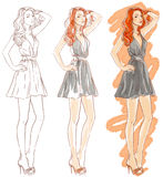 Making fashion watercolor illustration Royalty Free Stock Photos