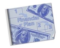 Making a financial plan is illustrated with a mock blueprint of a financial plan with coffee, ruler, pencil and notes stock photos