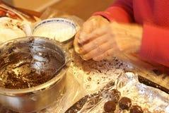 Making fine chocolate truffles Stock Photo