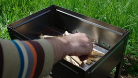 Making fire wood . stock footage