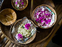 Making flower garland that called Malai in Thai. Making flower garland that called Malai in Thai Royalty Free Stock Image