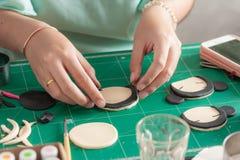 Making of fondant cake. The process of making fondant cake, fondant sugar mod action royalty free stock image