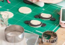 Making of fondant cake. The process of making fondant cake, fondant sugar mod action royalty free stock photos