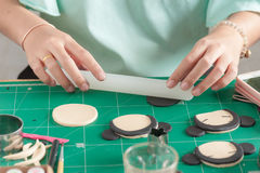 Making of fondant cake. The process of making fondant cake, fondant sugar mod action stock image