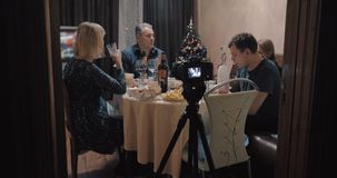 Making footage of family Christmas dinner stock footage
